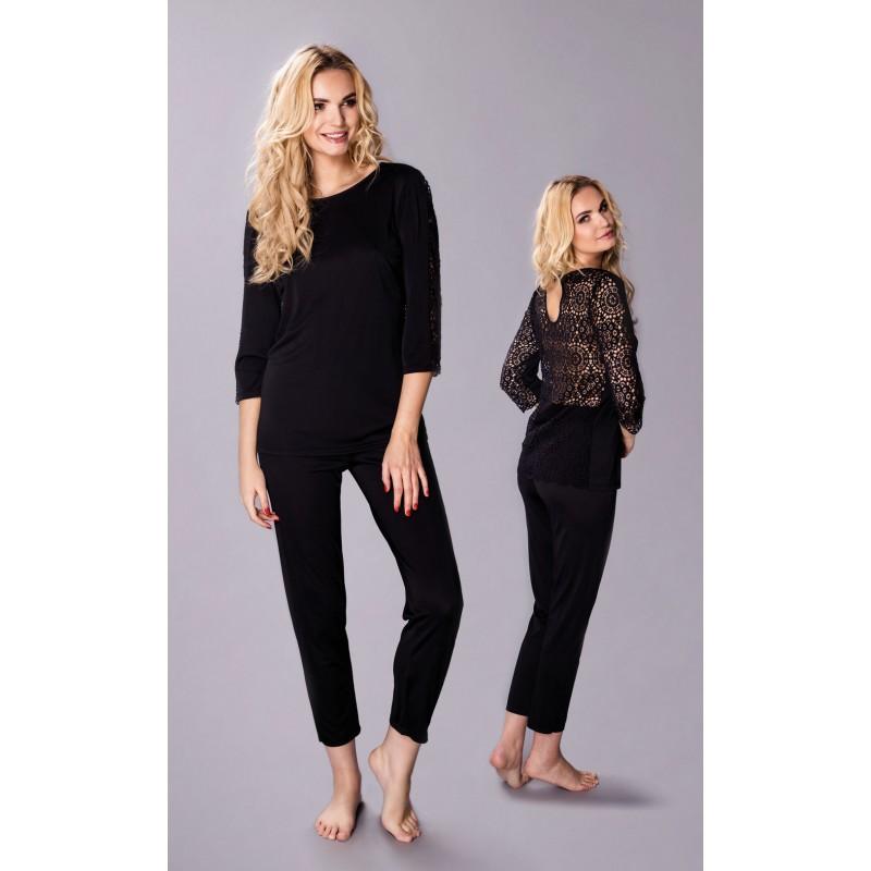 90b02acb9d35a1 Elegancka piżama damska jedwab wiskozowy Marietta czarna - Pradlo