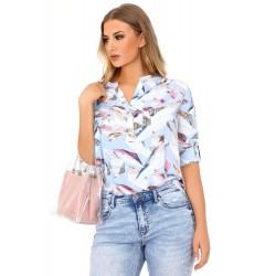 Bluzka koszulowa damska KALENA 85487 niebieska wzór