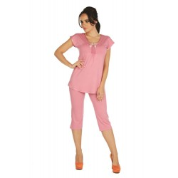Piżama damska wiskozowa Visa krótki rękaw - spodnie rybaczki