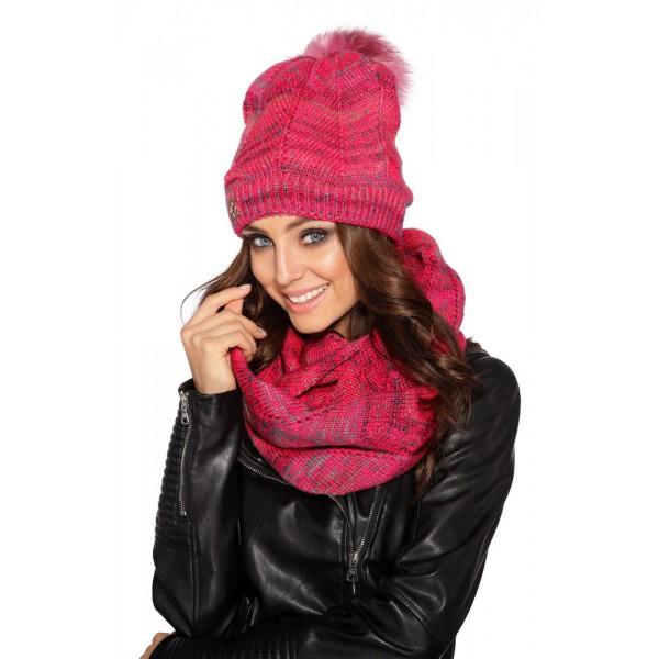 Zestaw damski czapka z futerkowym pomponem i komin