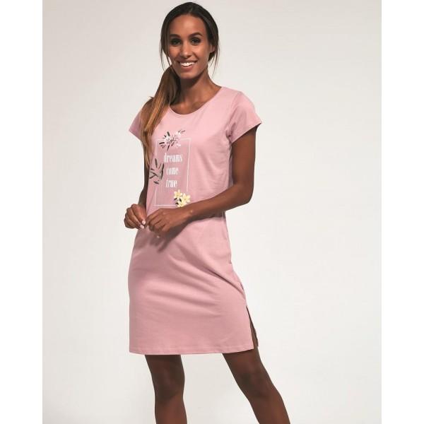 Koszula nocna bawełniana Come true różowa