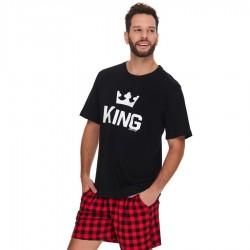 PIŻAMA MĘSKA Bawełniana KING KRÓTKIE SZORTY PMB 9952