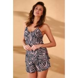 Piżama damska Krótkie szorty Zebra Mono