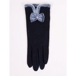 Rękawiczki damskie z futerkiem Kokardka