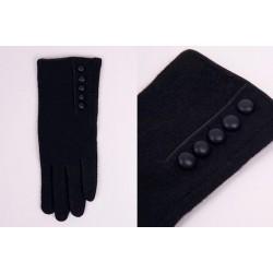 Rękawiczki damskie z guziczkami czarne