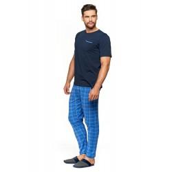 Pizama męska PDM 3900 niebieska kratka spodnie