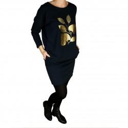 Sukienka damska ze złotą aplikacją listka Navy