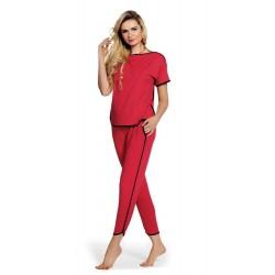 Piżama Judith krótki rękaw Długie spodnie czerwona