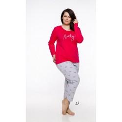 Piżama damska długa Rita 3XL czerwony