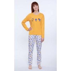 Piżama damska Długa Żółta